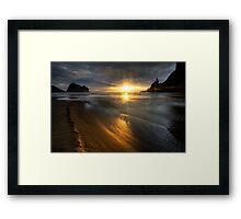 Into the sun, Piha Framed Print