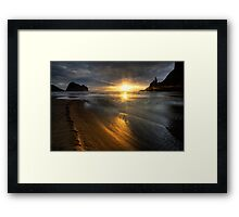 Into the sun, Piha Framed Print