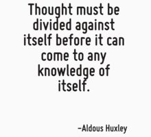 Thought must be divided against itself before it can come to any knowledge of itself. by Quotr