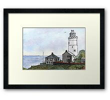 Star Point Lighthouse - Watercolor Pen and Wash Framed Print