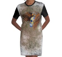indian native eagle sugar Skull Graphic T-Shirt Dress