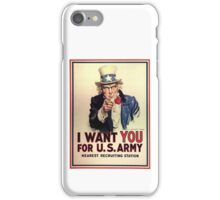 America, American, I Want You! Uncle Sam Wants You, USA, War, Recruitment Poster iPhone Case/Skin