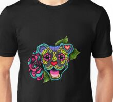 Mexican - Smiling Pit Bull In Blue Day Of The Dead Pitbull Sugar Skull Unisex T-Shirt