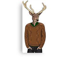 Anthropomorphic hipster deer man print Canvas Print