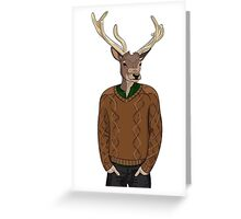 Anthropomorphic hipster deer man print Greeting Card