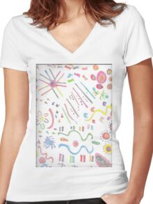 Curves & ethnic symbols Women's Fitted V-Neck T-Shirt
