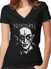 Black Metal Nosferatu Women's Fitted V-Neck T-Shirt