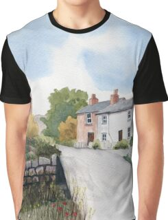 An English Village a Watercolor Graphic T-Shirt