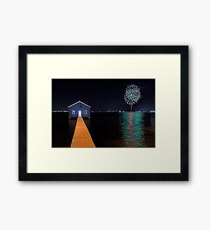 Crawley Edge Boatshed Fireworks  Framed Print