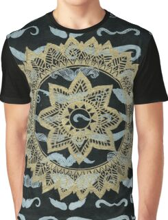 Gold Mandala on Black Mustache Paper Graphic T-Shirt