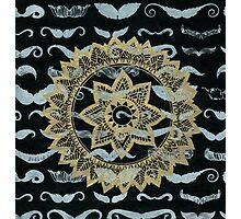 Gold Mandala on Black Mustache Paper Photographic Print