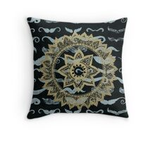 Gold Mandala on Black Mustache Paper Throw Pillow