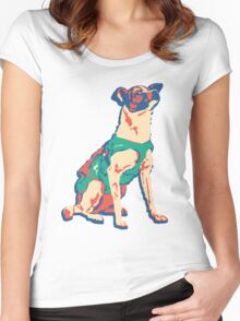Laika Space Dog Vector Russian Propaganda Pup Retro Old-Timey Vintage Women's Fitted Scoop T-Shirt