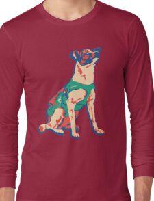 Laika Space Dog Vector Russian Propaganda Pup Retro Old-Timey Vintage Long Sleeve T-Shirt