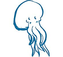 Cute Shy Octopus Blue Photographic Print