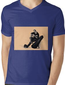 Guitarist playing on the street. Drawing illustration Mens V-Neck T-Shirt