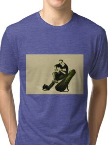 Guitarist playing on the street. Drawing illustration Tri-blend T-Shirt