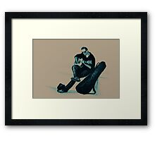 Guitarist playing on the street. Drawing illustration Framed Print
