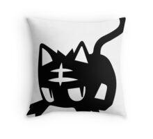 Litten Black Throw Pillow