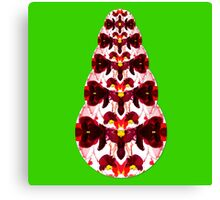 Red Holiday Abstract Pinecone Flower with Green Background Canvas Print