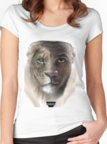 LeBron James 'Lion' Design Women's Fitted Scoop T-Shirt