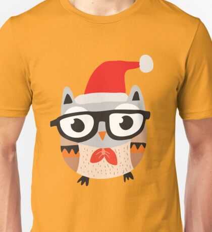 Christmas Owl With Glasses and Bow Tie Unisex T-Shirt