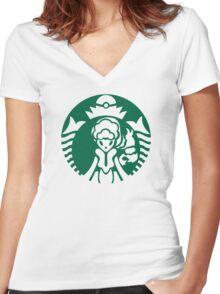 Alolan Starbucks (Green Outline) Women's Fitted V-Neck T-Shirt