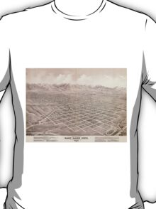 Vintage Pictorial Map of Salt Lake City (1875) T-Shirt