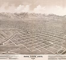 Vintage Pictorial Map of Salt Lake City (1875) by BravuraMedia