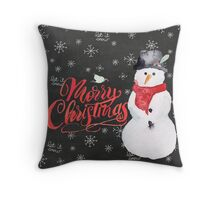 Warm Wishes from a Cool Snowman Throw Pillow