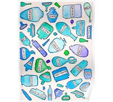 Blue bottles / pharmacy quirky funny pills food cookies party favors magic trippy psychedelic Poster