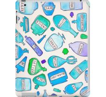Blue bottles / pharmacy quirky funny pills food cookies party favors magic trippy psychedelic iPad Case/Skin