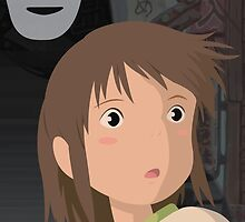 """Don't be such a scaredy cat, Chihiro"" - Spirited Away Art by TheCSimmons"