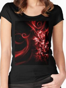 Red Abstract  Women's Fitted Scoop T-Shirt