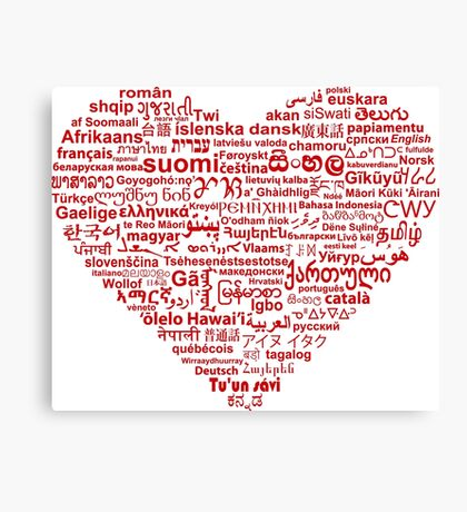 Love of Languages, Red on White Canvas Print