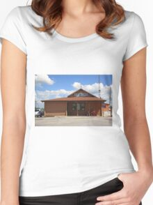 Route 66 - Old Log Cabin Women's Fitted Scoop T-Shirt