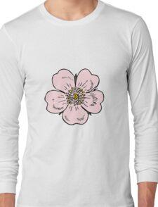 pink wild rose female girl woman flower cute beautiful hippie retro vintage t shrits Long Sleeve T-Shirt