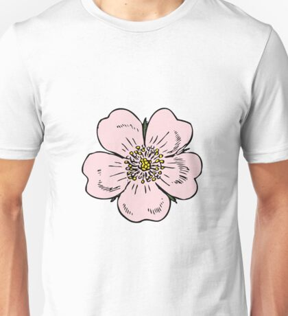 pink wild rose female girl woman flower cute beautiful hippie retro vintage t shrits Unisex T-Shirt