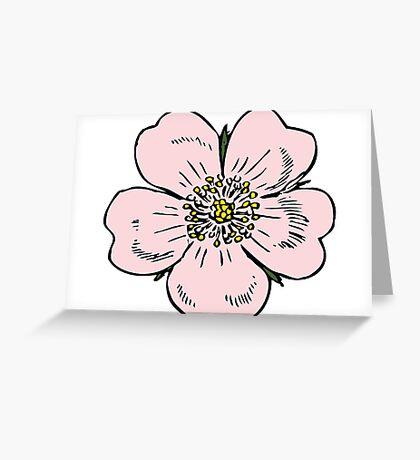 pink wild rose female girl woman flower cute beautiful hippie retro vintage t shrits Greeting Card