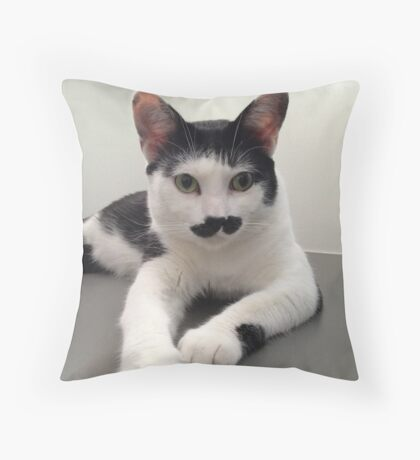 Felix the Moustache Cat Throw Pillow