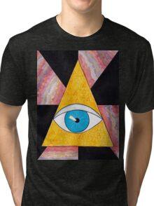 Seeing eye geode / pyramid third eye spiritual consciousness Tri-blend T-Shirt
