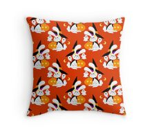 Halloween Witch Bunny Pattern Throw Pillow