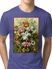 ORCHID FLOWER GARDEN; Vintage Art Print Tri-blend T-Shirt