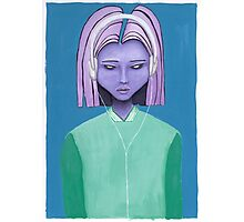 Alien girl / headphones trippy outer space fantasy art Photographic Print