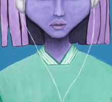 Alien girl / headphones trippy music fantasy art Sticker