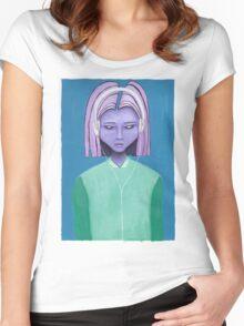 Alien girl / headphones trippy music fantasy art Women's Fitted Scoop T-Shirt