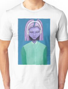 Alien girl / headphones trippy outer space fantasy art Unisex T-Shirt