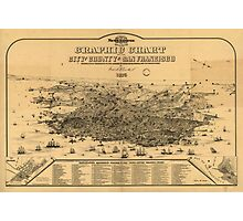 Vintage Pictorial Map of San Francisco (1875) Photographic Print