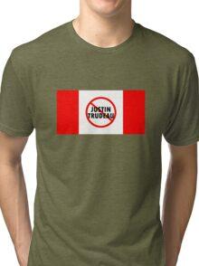 Canada Flag No Justin Trudeau Carbon Tax Protest Tri-blend T-Shirt