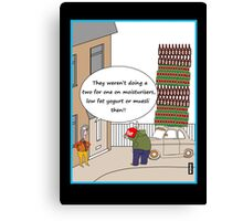 Two for one beer offer cartoon humour card Canvas Print